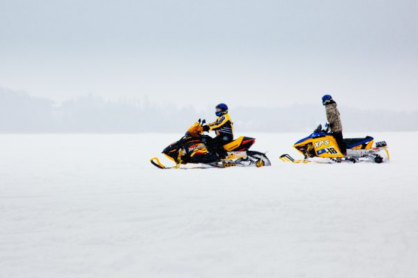 Snowmobiling on Lake