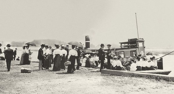 Historical image people at Port Perry Dock