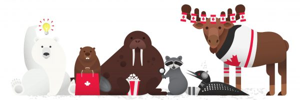 Canada Day animals, polar bear, beaver, walrus, raccoon, loon and moose.
