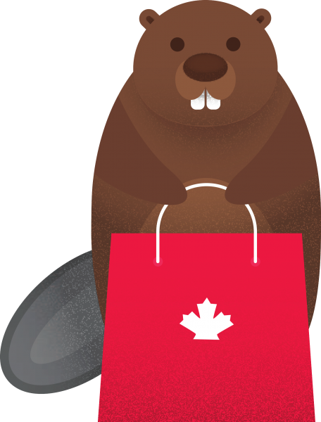 Beaver holding red Canada Day bag