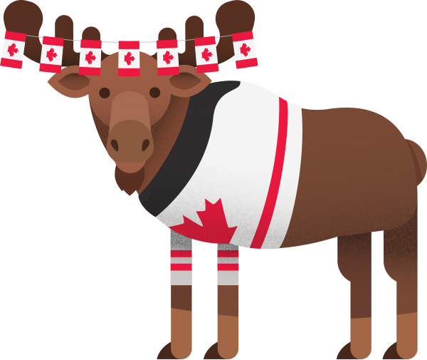 Moose decorated in Canada Day apparel
