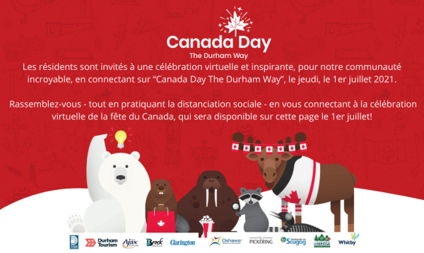 Red background with Canada Day themed animals, with French text about the virtual event on July 1.