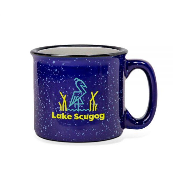Navy mug wtih Lake Scugog logo and a blue heron.