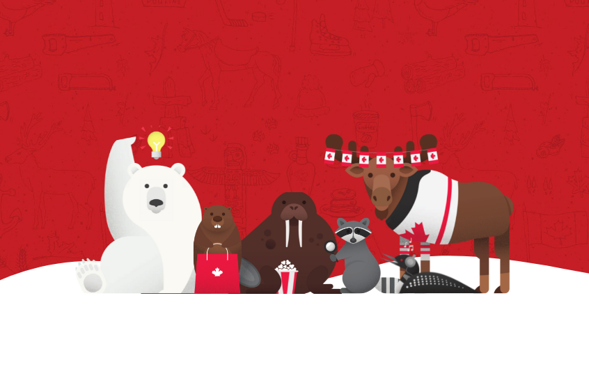 red background with Canada day themed animals